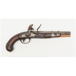 "U.S. North Model 1816 flintlock pistol, .54 cal.,  9"" barrel, wood grip, P and US marked on left sid"