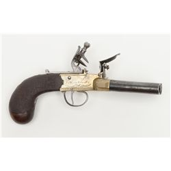 "Authentic and original English flintlock four  barrel ""Duckfoot"" multi-shot pistol signed  ""Tickers-"