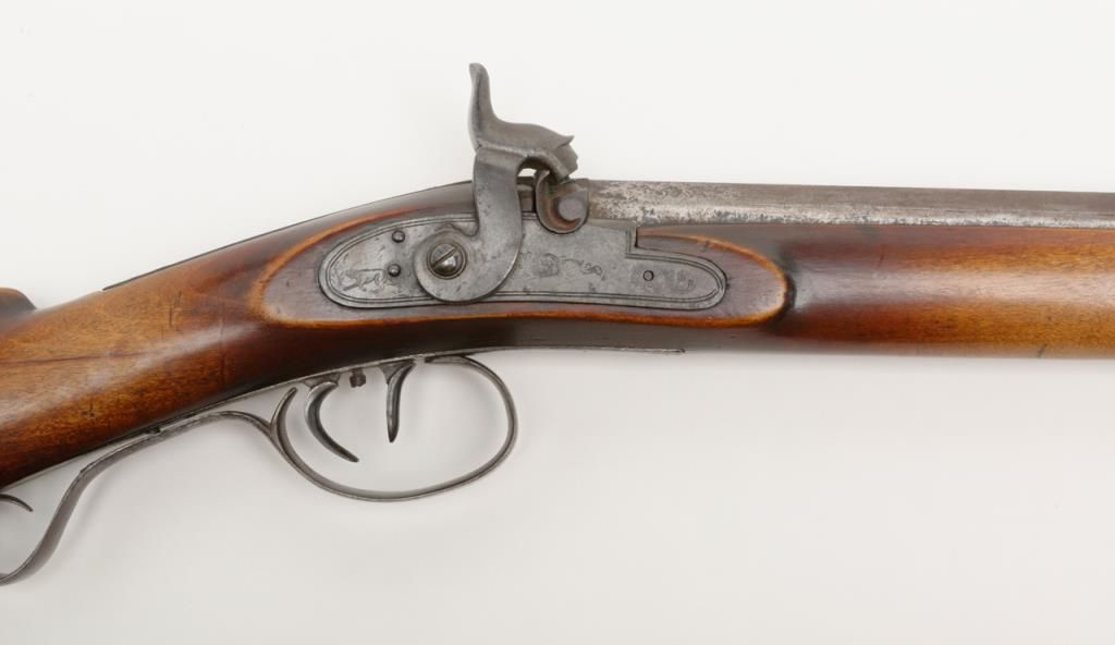 """Early Hawken rifle marked on the top flat of the barrel """"S  Hawken, St   Louis"""" and illustrated in"""