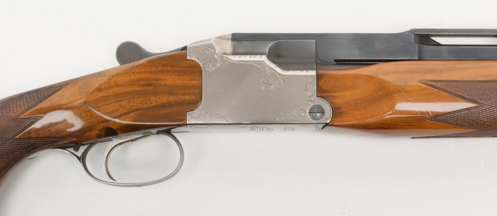 "Krieghoff Model KSS, 12 gauge single barrel trap shotgun showing 34"" barrel  and raised competition"