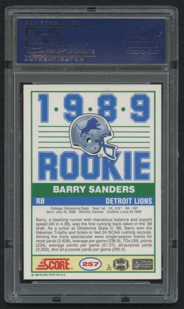 Barry Sanders Signed Lions 1989 Score 257 Rookie Card Psa