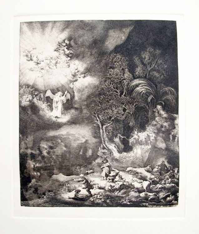 """REMBRANDT /""""THE ANGEL APPEARING TO THE SHEPHERDS/"""" Etching by Amand Durand"""