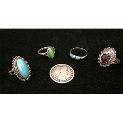 Lot of Four Sterling Rings
