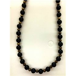 Onyx Bead and Sterling Necklace