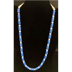 Lapis and Shell Bead Necklace