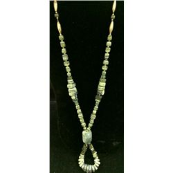 Serpentine and Sterling necklace