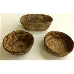 Three Vintage Pima Willow Baskets