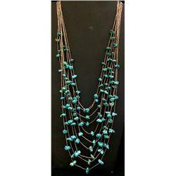 Liquid Silver, Turquoise, Multi-strand Necklace