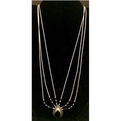 Liquid Silver and Onyx Necklace