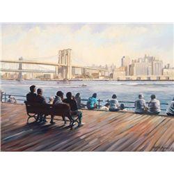 Michele Byrne, Brooklyn Bridge, Signed Canvas Print