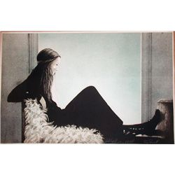 Roy Purcell, Girl on a Bench, Signed Lithograph