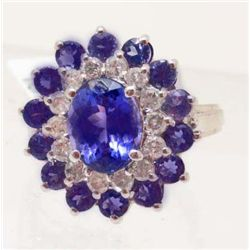 14KT WHITE GOLD TANZANITE & DIAMOND RING - $7K
