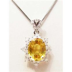 14KT WHITE GOLD YELLOW SAPPHIRE & DIAMOND PENDANT - $11K