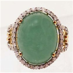 14KT GOLD JADEITE & DIAMOND RING - $3.4K