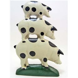 CAST IRON THREE STACKED PIGS DOOR STOP