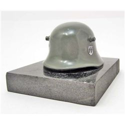 GERMAN NAZI WAFFEN SS OFFICERS HELMET DESK ORNAMENT