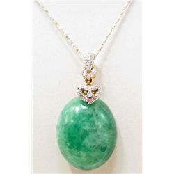 14KT GOLD JADEITE & DIAMOND PENDANT W/ CHAIN - $5K