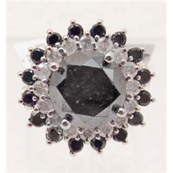 14KT WHITE GOLD BLACK & WHITE DIAMOND RING - $18K