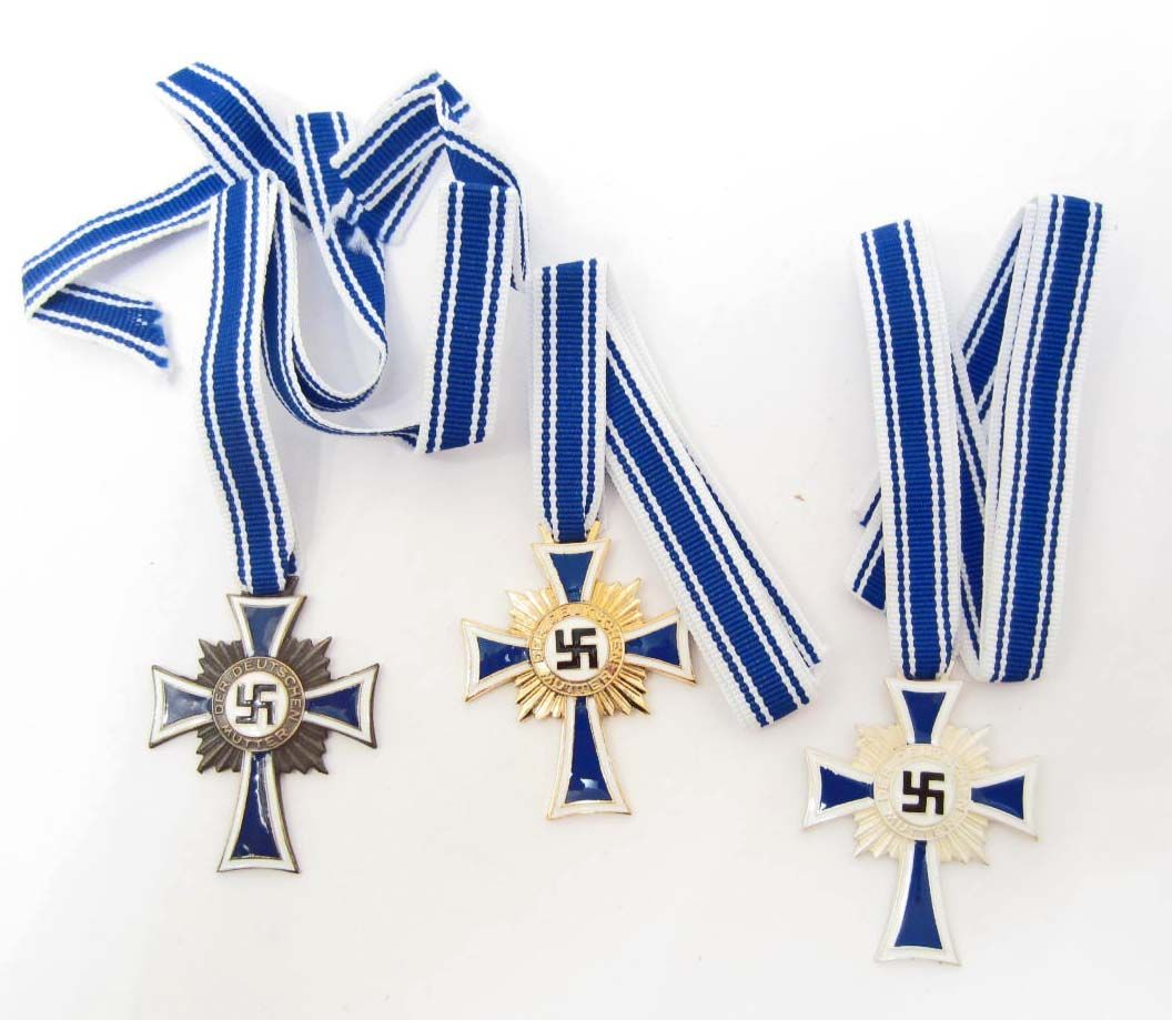 LOT OF 3 GERMAN NAZI MOTHER'S CROSS MEDALS W/ RIBBONS