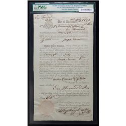 EXTREMELY RARE $1000 1795 TREASURY OF THE UNITED STATES No. 1331. PMG Certified.
