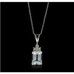 10KT White Gold 1.50ctw Aquamarine and Diamond Pendant With Chain WNK63
