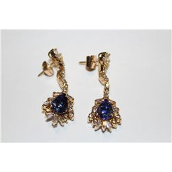 14 KT. YELLOW GOLD EARRINGS.  SET WITH 2 PEAR SHAPED NATURAL TANZANITES APPROX. 3.0 CARATS & 2 PEAR