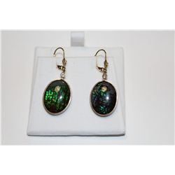 PAIR IF 14 KT. YELLOW GOLD & GOLD PLATED STERLING SILVER DANGLING AMMOLITE & DIAMOND EARRINGS.