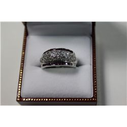 LADIES STERLING SILVER RUBY & COLOURLESS CUBIC ZIRCONIA DRESS RING.  PAVE SET