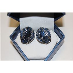 PAIR OF 925 STERLING SILVER NATURAL BLUE SAPPHIRE EARRINGS CLAW SET WITH