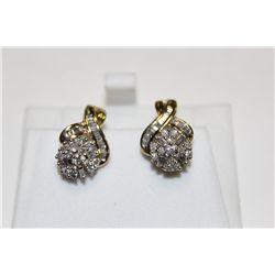PAIR OF 10KT. YELLOW GOLD & RHODIUM FINISH DIAMOND EARRINGS.
