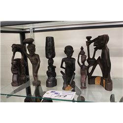 "LOT OF 6 MAKONDE (TANZANIA) CARVED EBONY SCULPTURES 6""-10"" HIGH"