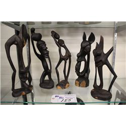 "LOT OF 5 MAKONDE (TANZANIA) CARVED EBONY SCULPTURES 13""-16"" HIGH"