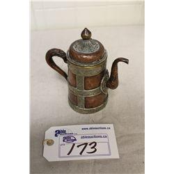 "ANTIQUE TIBETAN COPPER AND METAL INLAID YAKBUTTER TEA POT 7 1/2"" HIGH"