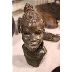 """AFRICAN VERDITE CARVED BUST 10"""" TALL"""