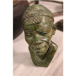 """AFRICAN VERDITE CARVED BUST 8"""" TALL"""