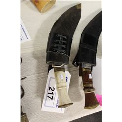 BONE HANDLE KUKURI KNIFE WITH LEATHER CASE