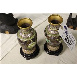 PAIR OF ANTIQUE CLAISONE CHINESE VASES WITH NEWER ROSEWOOD BASES