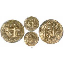 Lima, Peru, cob 8 escudos, 1727M, encapsulated NGC AU 58.