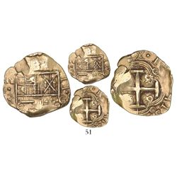 Bogota, Colombia, cob 2 escudos, Charles II, assayer G to right, from the 1715 Fleet.