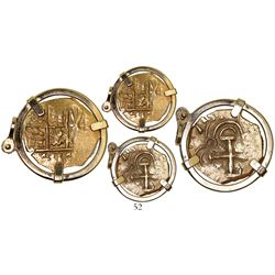 Bogota, Colombia, cob 2 escudos, 1713, from the 1715 Fleet, mounted in 14K pendant-bezel.
