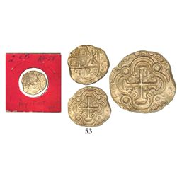 Bogota, Colombia, cob 2 escudos, posthumous Charles II, assayer ARCE in legend, from the 1715 Fleet,