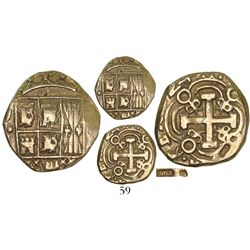 """Bogota, Colombia, cob 2 escudos, (17)24(S), (Louis I), with unidentified """"JDT"""" countermark on cross"""