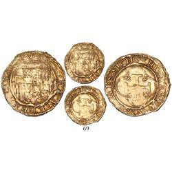Seville, Spain, 1 escudo, Charles-Joanna, * to left, mintmark S to right.