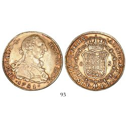 Potosi, Bolivia, bust 8 escudos, Charles III, 1781PR.