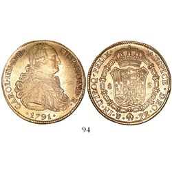 Potosi, Bolivia, bust 8 escudos, Charles IV (laureate bust), 1791PR, very rare one-year type.