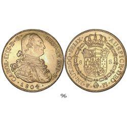 Potosi, Bolivia, bust 8 escudos, Charles IV, 1804PJ.
