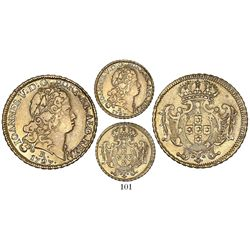 Brazil (Rio mint), 3200 reis, Joao V, 1727-R, full edge, extremely rare (2 or 3 known), finest known