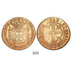 Brazil (Bahia mint), 4000 reis, Joao Prince Regent, 1809/8.
