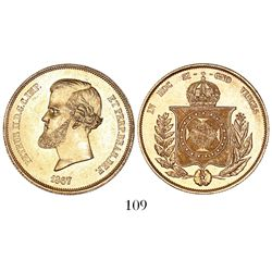 Brazil, 20000 reis, Pedro II, 1867.