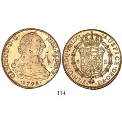 Santiago, Chile, bust 8 escudos, Charles IV (bust of Charles III), 1798DA.